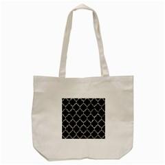 Tile1 Black Marble & Silver Foil (r) Tote Bag (cream) by trendistuff