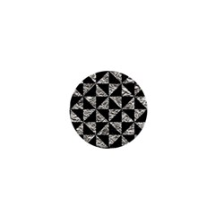Triangle1 Black Marble & Silver Foil 1  Mini Buttons by trendistuff