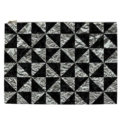 Triangle1 Black Marble & Silver Foil Cosmetic Bag (xxl)  by trendistuff