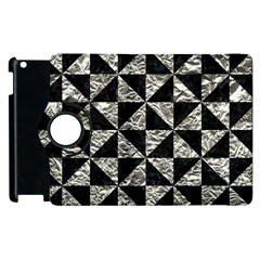 Triangle1 Black Marble & Silver Foil Apple Ipad 3/4 Flip 360 Case by trendistuff