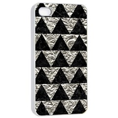 Triangle2 Black Marble & Silver Foil Apple Iphone 4/4s Seamless Case (white) by trendistuff