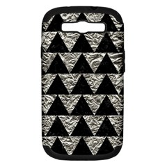 Triangle2 Black Marble & Silver Foil Samsung Galaxy S Iii Hardshell Case (pc+silicone) by trendistuff