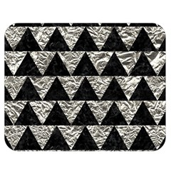 Triangle2 Black Marble & Silver Foil Double Sided Flano Blanket (medium)  by trendistuff