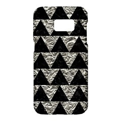 Triangle2 Black Marble & Silver Foil Samsung Galaxy S7 Hardshell Case  by trendistuff