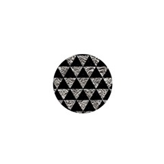 Triangle3 Black Marble & Silver Foil 1  Mini Magnets by trendistuff