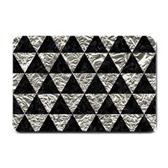 Triangle3 Black Marble & Silver Foil Small Doormat  by trendistuff