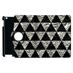Triangle3 Black Marble & Silver Foil Apple Ipad 2 Flip 360 Case by trendistuff