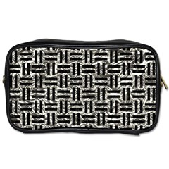 Woven1 Black Marble & Silver Foil Toiletries Bags 2 Side by trendistuff