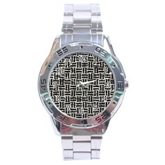 Woven1 Black Marble & Silver Foil Stainless Steel Analogue Watch by trendistuff