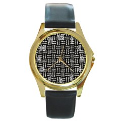 Woven1 Black Marble & Silver Foil (r) Round Gold Metal Watch by trendistuff
