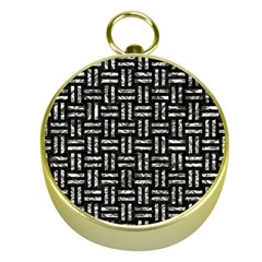 Woven1 Black Marble & Silver Foil (r) Gold Compasses by trendistuff