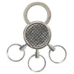 Woven2 Black Marble & Silver Foil 3 Ring Key Chains by trendistuff