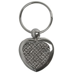 Woven2 Black Marble & Silver Foil Key Chains (heart)  by trendistuff