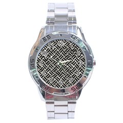 Woven2 Black Marble & Silver Foil Stainless Steel Analogue Watch by trendistuff