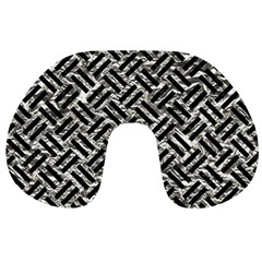 Woven2 Black Marble & Silver Foil Travel Neck Pillows by trendistuff