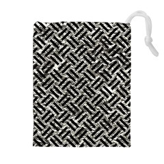 Woven2 Black Marble & Silver Foil Drawstring Pouches (extra Large) by trendistuff