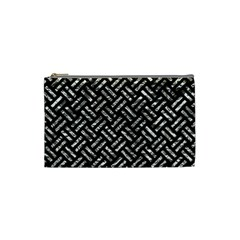 Woven2 Black Marble & Silver Foil (r) Cosmetic Bag (small)  by trendistuff