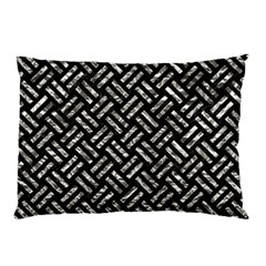 Woven2 Black Marble & Silver Foil (r) Pillow Case (two Sides) by trendistuff