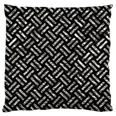 Woven2 Black Marble & Silver Foil (r) Large Cushion Case (two Sides) by trendistuff