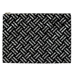Woven2 Black Marble & Silver Foil (r) Cosmetic Bag (xxl)  by trendistuff