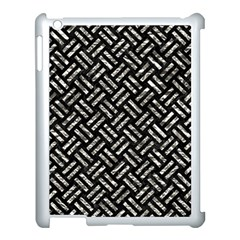 Woven2 Black Marble & Silver Foil (r) Apple Ipad 3/4 Case (white) by trendistuff