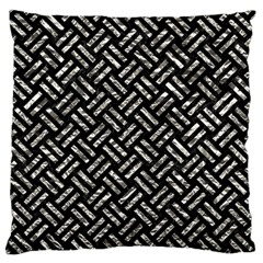 Woven2 Black Marble & Silver Foil (r) Large Flano Cushion Case (two Sides) by trendistuff