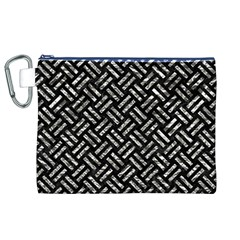 Woven2 Black Marble & Silver Foil (r) Canvas Cosmetic Bag (xl) by trendistuff