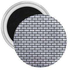 Brick1 Black Marble & Silver Glitter 3  Magnets by trendistuff
