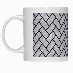 Brick2 Black Marble & Silver Glitter White Mugs by trendistuff