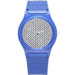 Brick2 Black Marble & Silver Glitter Round Plastic Sport Watch (s) by trendistuff