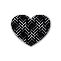 Brick2 Black Marble & Silver Glitter (r) Heart Coaster (4 Pack)  by trendistuff