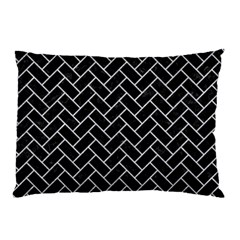Brick2 Black Marble & Silver Glitter (r) Pillow Case
