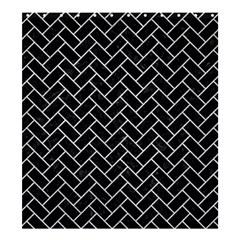 Brick2 Black Marble & Silver Glitter (r) Shower Curtain 66  X 72  (large)  by trendistuff