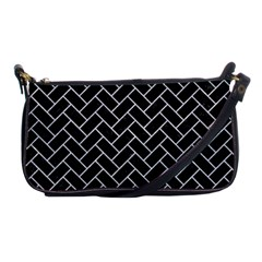 Brick2 Black Marble & Silver Glitter (r) Shoulder Clutch Bags by trendistuff
