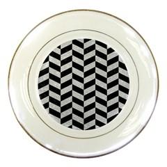 Chevron1 Black Marble & Silver Glitter Porcelain Plates by trendistuff