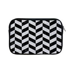 Chevron1 Black Marble & Silver Glitter Apple Ipad Mini Zipper Cases by trendistuff