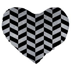 Chevron1 Black Marble & Silver Glitter Large 19  Premium Flano Heart Shape Cushions by trendistuff