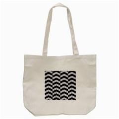 Chevron2 Black Marble & Silver Glitter Tote Bag (cream) by trendistuff