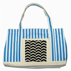 Chevron2 Black Marble & Silver Glitter Striped Blue Tote Bag by trendistuff