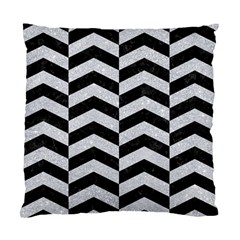 Chevron2 Black Marble & Silver Glitter Standard Cushion Case (two Sides) by trendistuff