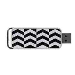 Chevron2 Black Marble & Silver Glitter Portable Usb Flash (two Sides) by trendistuff