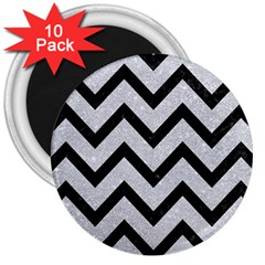 Chevron9 Black Marble & Silver Glitter 3  Magnets (10 Pack)  by trendistuff