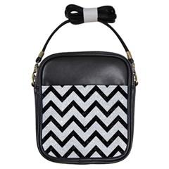 Chevron9 Black Marble & Silver Glitter Girls Sling Bags by trendistuff