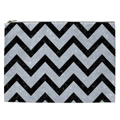 Chevron9 Black Marble & Silver Glitter Cosmetic Bag (xxl)  by trendistuff