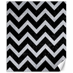 Chevron9 Black Marble & Silver Glitter (r) Canvas 20  X 24   by trendistuff