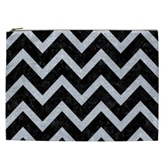 Chevron9 Black Marble & Silver Glitter (r) Cosmetic Bag (xxl)  by trendistuff