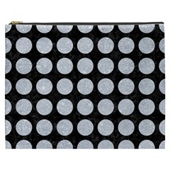 Circles1 Black Marble & Silver Glitter (r) Cosmetic Bag (xxxl)  by trendistuff