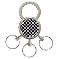 Circles2 Black Marble & Silver Glitter 3 Ring Key Chains by trendistuff