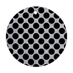 Circles2 Black Marble & Silver Glitter Round Ornament (two Sides) by trendistuff