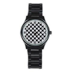 Circles2 Black Marble & Silver Glitter (r) Stainless Steel Round Watch by trendistuff